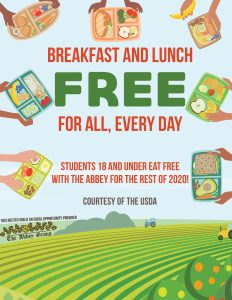 Breakfast and lunch free for all students 18 and under